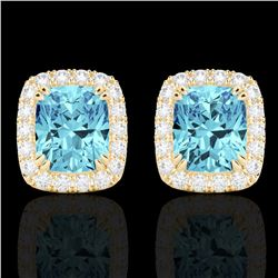 2.50 CTW Sky Blue Topaz & Micro VS/SI Diamond Halo Earrings 10K Yellow Gold - REF-41K3W - 22874