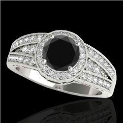 1.5 CTW Certified VS Black Diamond Solitaire Halo Ring 10K White Gold - REF-77F3N - 34072