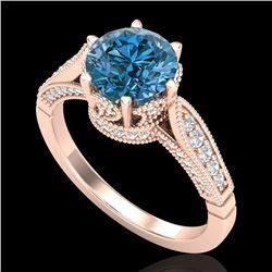 2.2 CTW Intense Blue Diamond Solitaire Engagement Art Deco Ring 18K Rose Gold - REF-314Y5K - 38091