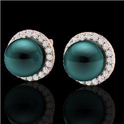 0.50 CTW Micro Halo VS/SI Diamond & Peacock Pearl Earrings 14K Rose Gold - REF-53W3F - 21498