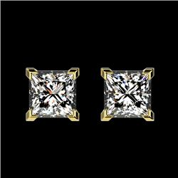1 CTW Certified VS/SI Quality Princess Diamond Stud Earrings 10K Yellow Gold - REF-147F2N - 33065