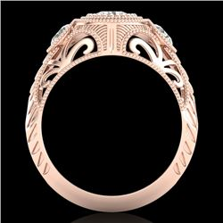 1.06 CTW VS/SI Diamond Solitaire Art Deco 3 Stone Ring 18K Rose Gold - REF-180H2A - 36894