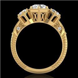 1.66 CTW VS/SI Diamond Solitaire Art Deco 3 Stone Ring 18K Yellow Gold - REF-445A5X - 37225
