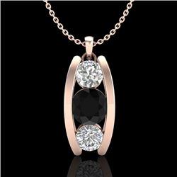 1.07 CTW Fancy Black Diamond Solitaire Art Deco Stud Necklace 18K Rose Gold - REF-94T5M - 37773