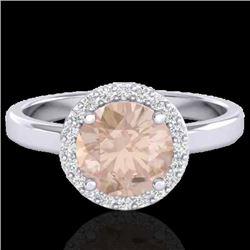 1.50 CTW Morganite & Halo VS/SI Diamond Micro Ring Solitaire 18K White Gold - REF-60K5W - 21634