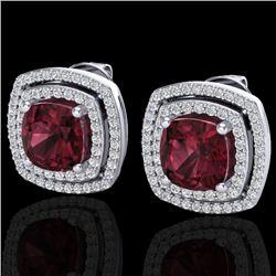 4.55 CTW Garnet & Micro Pave VS/SI Diamond Halo Earrings 18K White Gold - REF-104F9N - 20165