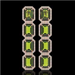 19.44 CTW Tourmaline & Diamond Halo Earrings 10K Rose Gold - REF-258W9F - 41592