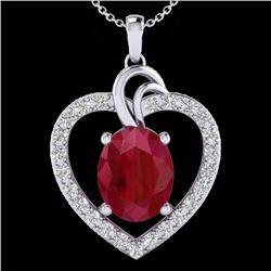 4 CTW Ruby & VS/SI Diamond Designer Heart Necklace 14K White Gold - REF-81F8N - 20494