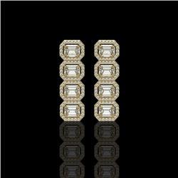 5.33 CTW Emerald Cut Diamond Designer Earrings 18K Yellow Gold - REF-1125Y6K - 42793