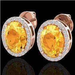 5.50 CTW Citrine & Micro VS/SI Diamond Halo Earrings 14K Rose Gold - REF-61W8F - 20245