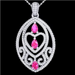 3.50 CTW Pink Sapphire & Micro VS/SI Diamond Heart Necklace 18K White Gold - REF-218K2W - 21290