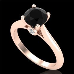 1.36 CTW Fancy Black Diamond Solitaire Engagement Art Deco Ring 18K Rose Gold - REF-89T3M - 38207