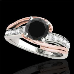 1.5 CTW Certified VS Black Diamond Bypass Solitaire Ring 10K White & Rose Gold - REF-72N4Y - 35126