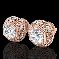 1.31 CTW VS/SI Diamond Solitaire Art Deco Stud Earrings 18K Rose Gold - REF-236K4W - 36921