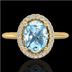 2 CTW Sky Blue Topaz & Micro VS/SI Diamond Ring Solitaire Halo 18K Yellow Gold - REF-48X8T - 21005