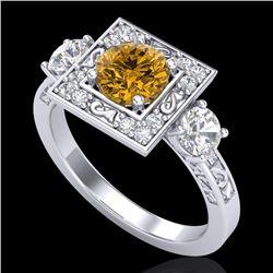 1.55 CTW Intense Fancy Yellow Diamond Art Deco 3 Stone Ring 18K White Gold - REF-178N2Y - 38176