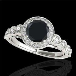 1.5 CTW Certified VS Black Diamond Solitaire Halo Ring 10K White Gold - REF-68K2W - 33601