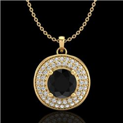 1.25 CTW Fancy Black Diamond Solitaire Art Deco Stud Necklace 18K Yellow Gold - REF-83N6Y - 38138