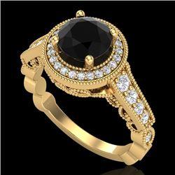 1.91 CTW Fancy Black Diamond Solitaire Engagement Art Deco Ring 18K Yellow Gold - REF-130F9N - 37683