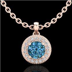 1 CTW Intense Blue Diamond Solitaire Art Deco Stud Necklace 18K Rose Gold - REF-138M2H - 37664