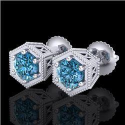 1.15 CTW Fancy Intense Blue Diamond Art Deco Stud Earrings 18K White Gold - REF-127H3A - 38041