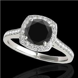 1.65 CTW Certified VS Black Diamond Solitaire Halo Ring 10K White Gold - REF-67T5M - 34196