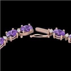 28 CTW Amethyst & VS/SI Diamond Eternity Tennis Necklace 10K Rose Gold - REF-146Y5K - 21580
