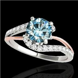 1.35 CTW Si Certified Fancy Blue Diamond Bypass Solitaire Ring 10K White & Rose Gold - REF-167F3N -