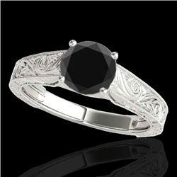 1.5 CTW Certified VS Black Diamond Solitaire Antique Ring 10K White Gold - REF-54F9N - 35194