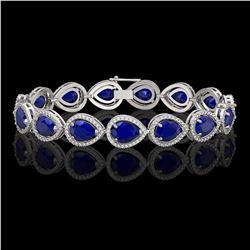 30.06 CTW Sapphire & Diamond Halo Bracelet 10K White Gold - REF-344K2W - 41240