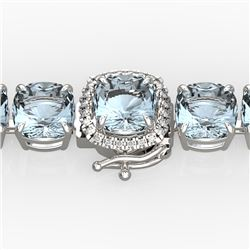 35 CTW Aquamarine & Micro VS/SI Diamond Halo Designer Bracelet 14K White Gold - REF-304M8H - 23299