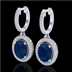 4.25 CTW Sapphire & Micro Pave VS/SI Diamond Earrings Halo 18K White Gold - REF-118K2W - 20333