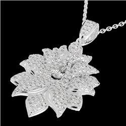 3 CTW Micro Pave VS/SI Diamond Designer Necklace 18K White Gold - REF-347K3W - 22558
