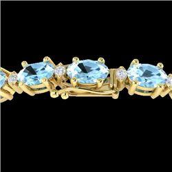 21.2 CTW Aquamarine & VS/SI Certified Diamond Eternity Bracelet 10K Yellow Gold - REF-263T6M - 29446
