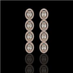 5.33 CTW Oval Diamond Designer Earrings 18K Rose Gold - REF-982M4H - 42621