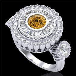 2.62 CTW Intense Fancy Yellow Diamond Art Deco 3 Stone Ring 18K White Gold - REF-290M9H - 37924