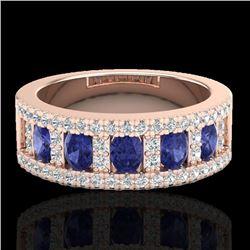 1.75 CTW Tanzanite & Micro Pave VS/SI Diamond Inspired Ring 10K Rose Gold - REF-64F4N - 20830