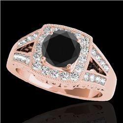 1.65 CTW Certified VS Black Diamond Solitaire Halo Ring 10K Rose Gold - REF-153X8T - 34463