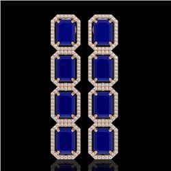 20.59 CTW Sapphire & Diamond Halo Earrings 10K Rose Gold - REF-213M8H - 41577