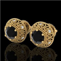 1.31 CTW Fancy Black Diamond Solitaire Art Deco Stud Earrings 18K Yellow Gold - REF-81X8T - 37557