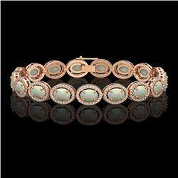 14.24 CTW Opal & Diamond Halo Bracelet 10K Rose Gold - REF-298F2N - 40617