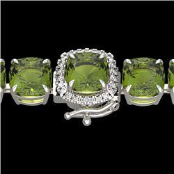 40 CTW Green Tourmaline & Micro VS/SI Diamond Halo Bracelet 14K White Gold - REF-404F4N - 23312