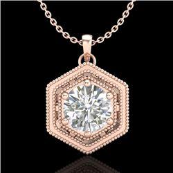 0.76 CTW VS/SI Diamond Solitaire Art Deco Stud Necklace 18K Rose Gold - REF-178Y2K - 36903