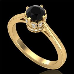 0.81 CTW Fancy Black Diamond Solitaire Engagement Art Deco Ring 18K Yellow Gold - REF-78K2W - 37333