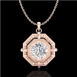 0.75 CTW VS/SI Diamond Solitaire Art Deco Stud Necklace 18K Rose Gold - REF-202M5H - 36879