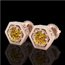 1.07 CTW Intense Fancy Yellow Diamond Art Deco Stud Earrings 18K Rose Gold - REF-131X8T - 37512