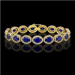 22.89 CTW Sapphire & Diamond Halo Bracelet 10K Yellow Gold - REF-291K5W - 40609
