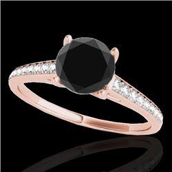 1.5 CTW Certified VS Black Diamond Solitaire Ring 10K Rose Gold - REF-67M8H - 34848