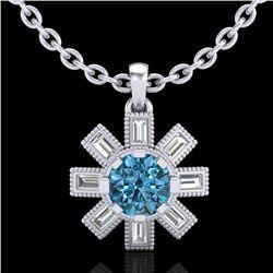 1.33 CTW Fancy Intense Blue Diamond Solitaire Art Deco Necklace 18K White Gold - REF-161A8X - 37873