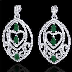 7 CTW Emerald & Micro Pave VS/SI Diamond Heart Earrings Designer 18K White Gold - REF-381W8F - 21153